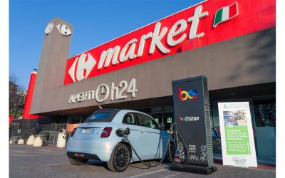 """FCA e Carrefour presentano con Be Charge """"Shop & Charge"""" per la promozione della mobilità elettrica: protagonista la Nuova Fiat 500"""