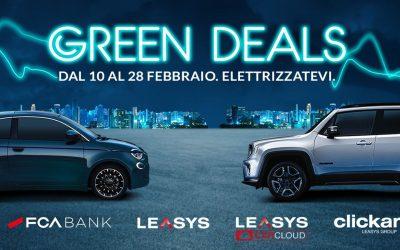 """Al via i """"Green Deals"""" di FCA Bank e Leasys: 4 servizi sostenibili in promozione fino al 28 febbraio"""